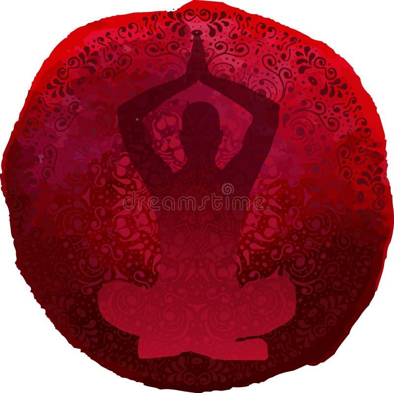 Round mandala wzór na akwareli plamie i ręka rysujący abstrakta wzór, joga sylwetka royalty ilustracja
