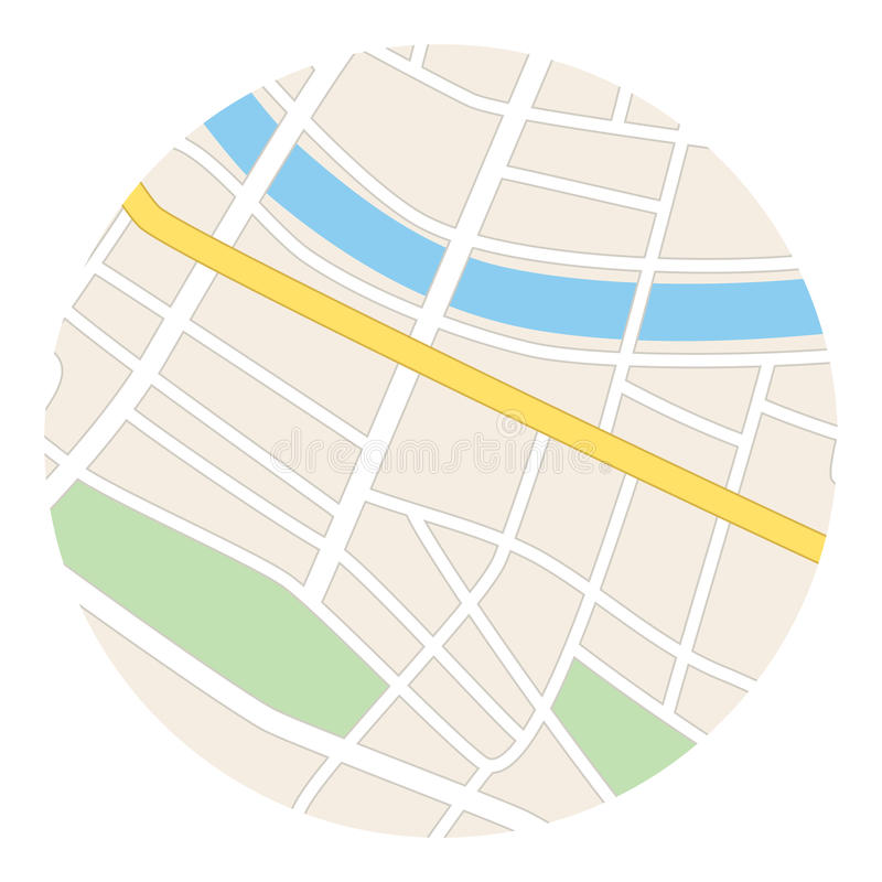 Round map with river - streets and parks - vector vector illustration