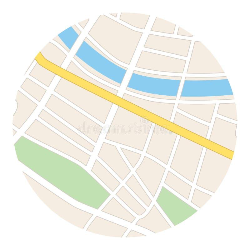 Round mapa z rzeką - ulicy i parki ilustracja wektor