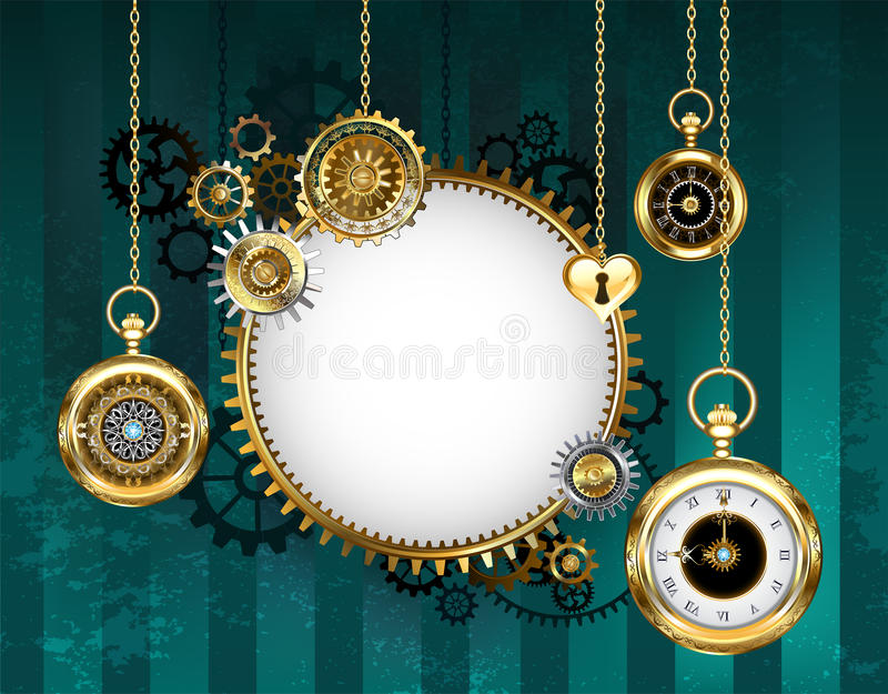 Round mechanical banner on green background royalty free illustration