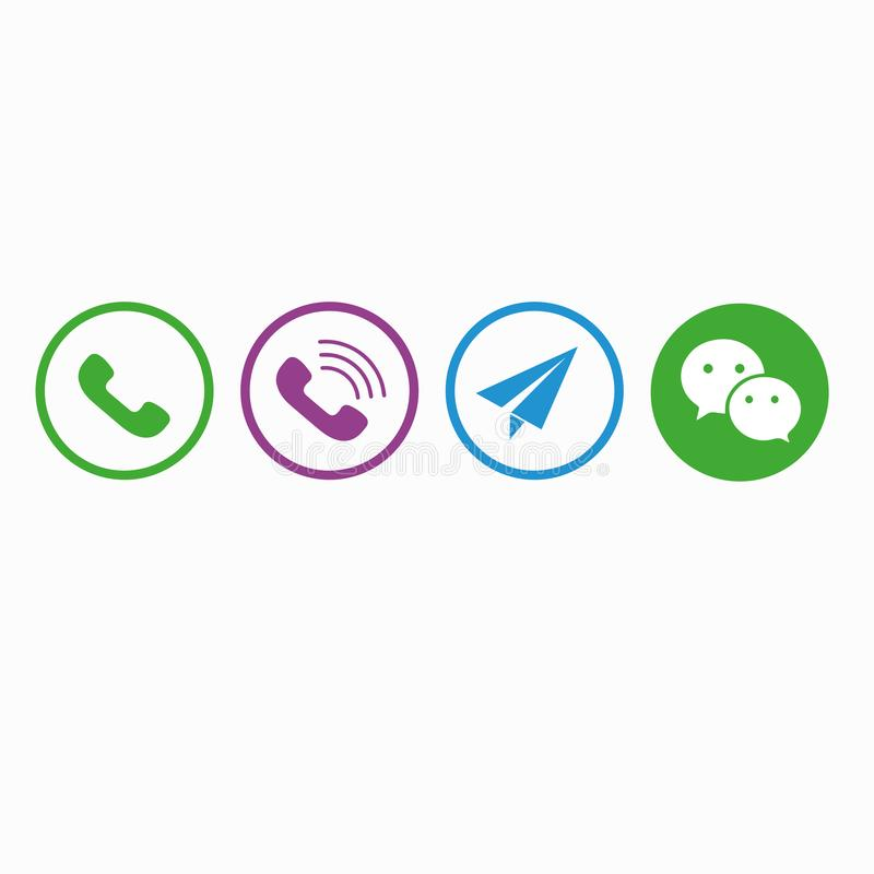 Round media icons. WhatsApp Viber Telegram WeChat vector illustration