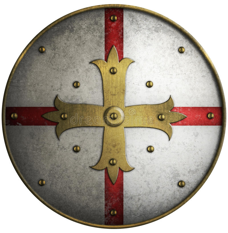Round medieval shield with golden cross. Isolated stock photo