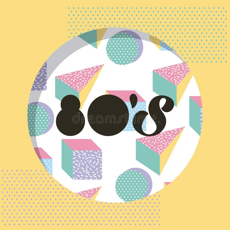 Round 80 memphis style pattern circle triangle design vector illustration