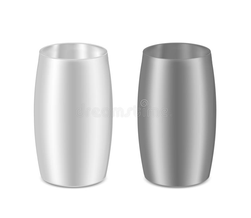 Round metal can for food, cookies and gifts. Flower vase royalty free illustration