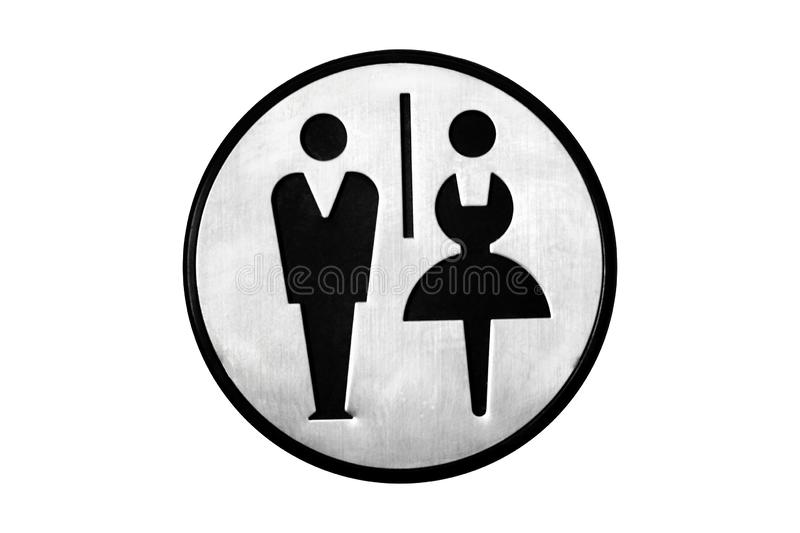 Round metal sign of restroom, restroom isolated on white background. Black silhouettes of a man and a woman royalty free stock images