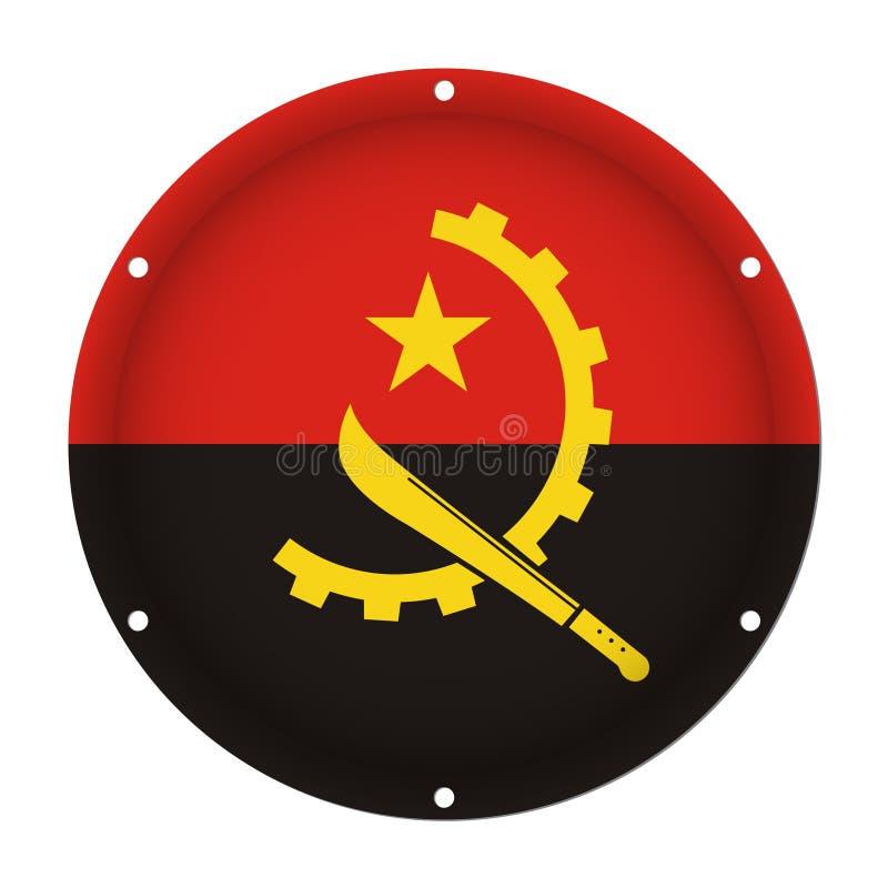 Round metallic flag of Angola with holes royalty free illustration