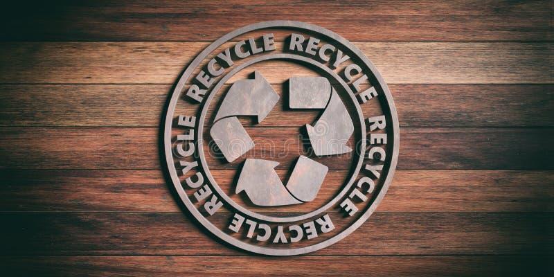 Round metalu znaka odznaka z tekstem przetwarza odosobnionego na drewnianym tle ilustracja 3 d ilustracji