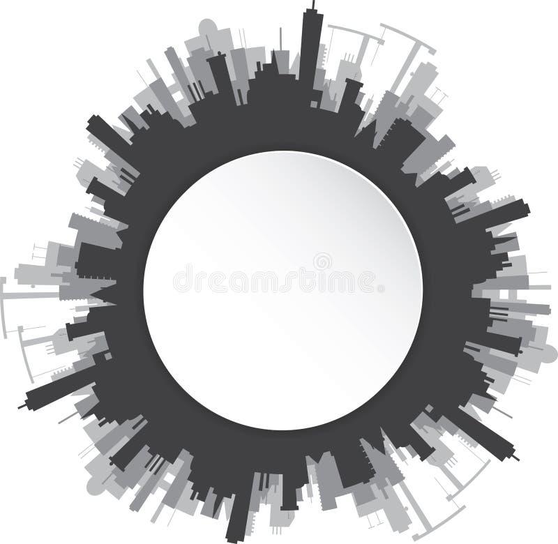 Download Round miastowy krajobraz ilustracja wektor. Ilustracja złożonej z budynek - 53785844
