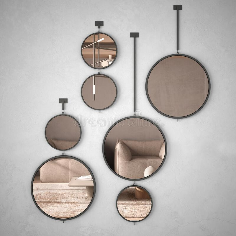 Free Round Mirrors Hanging On The Wall Reflecting Interior Design Scene, Minimalist Living Room In Beige Tones With Wooden And Concrete Stock Image - 172795531