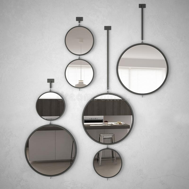Free Round Mirrors Hanging On The Wall Reflecting Interior Design Scene, Minimalist White Kitchen, Modern Architecture Stock Image - 114705921