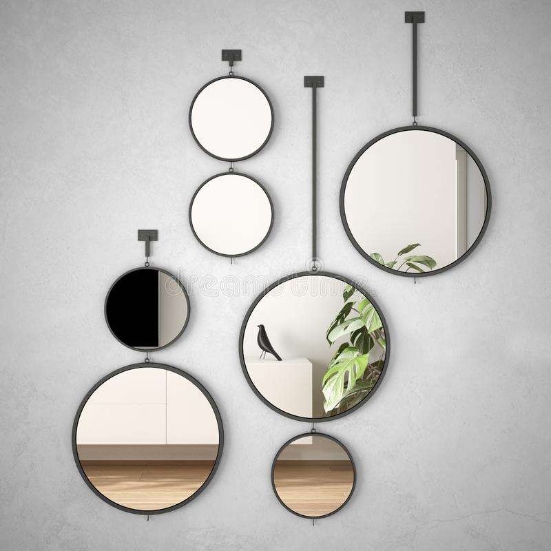 Free Round Mirrors Hanging On The Wall Reflecting Interior Design Scene, Minimalist White Living, Modern Architecture Concept Idea Stock Images - 156964494