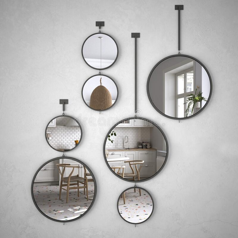 Free Round Mirrors Hanging On The Wall Reflecting Interior Design Scene, Retro Kitchen With Dining Table And Wooden Chairs, Panoramic Royalty Free Stock Image - 170485676