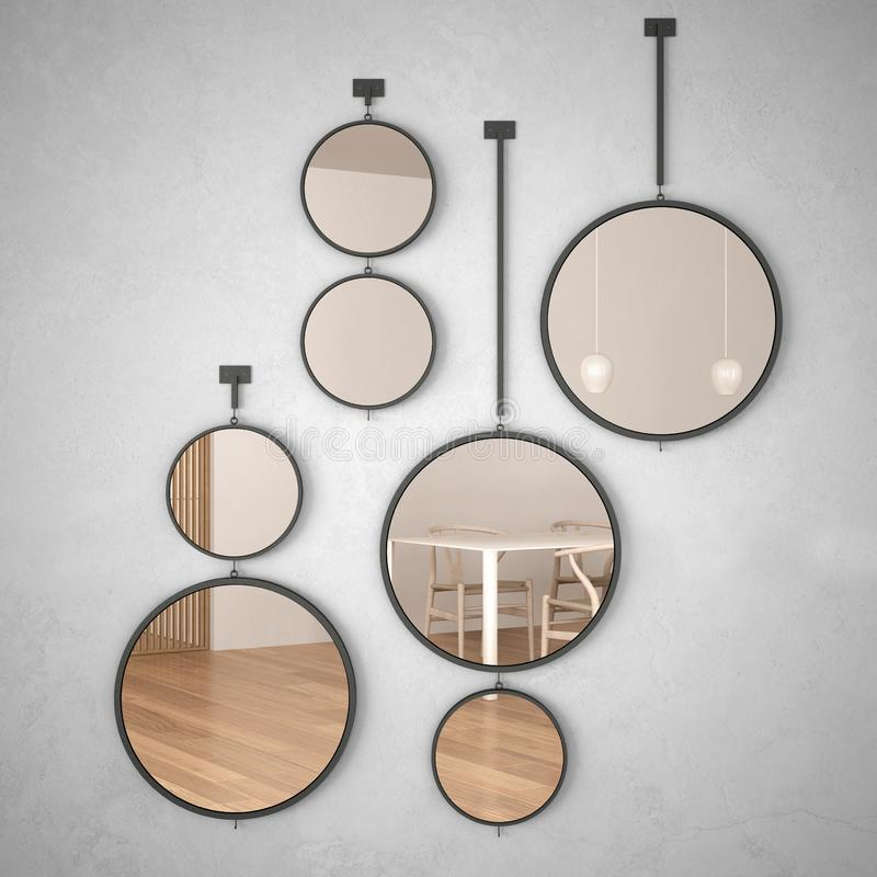 Round mirrors hanging on the wall reflecting interior design scene, minimalist white and wooden kitchen, modern architecture. Concept idea stock photos