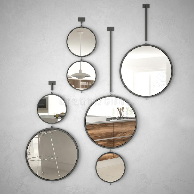 Round mirrors hanging on the wall reflecting interior design scene, minimalist white and wooden kitchen, modern architecture. Concept idea royalty free stock photography
