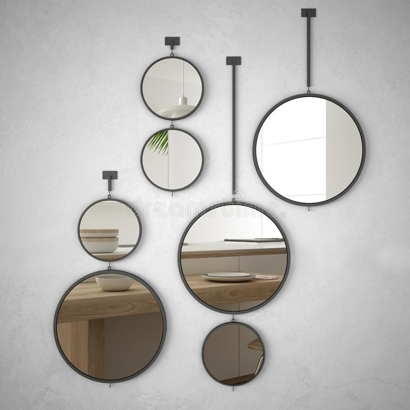 Round mirrors hanging on the wall reflecting interior design scene, minimalist white and wooden kitchen, modern architecture. Concept idea stock photography