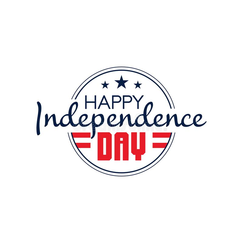 Round monochrome emblem of USA with text happy independence day. 4th of July. National holiday icon. Flat vector design vector illustration