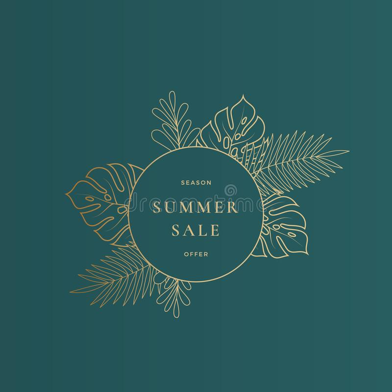 Round Monstera Tropical Leaves Summer Sale Card or Banner Template. Abstract Foliage Advertising Composition in Gold royalty free illustration