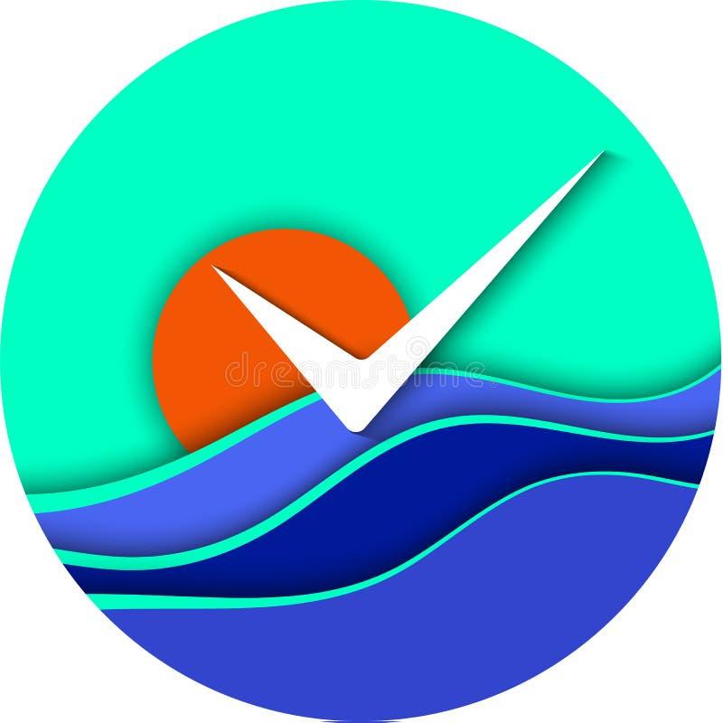 Round morza lub oceanu ikona Błękitne fala, pomarańczowy słońce i seagull na niebieskiego nieba tle, Jaskrawa EPS 10 wektoru ilus ilustracji