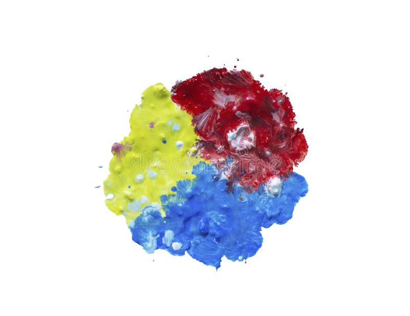 Round multi-colored paint spot isolated on white. Wet gouache stock images