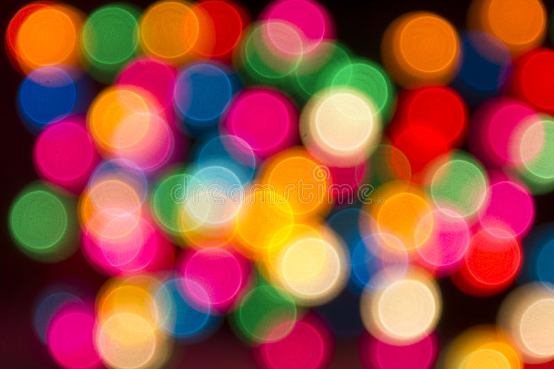 Round multicolor bokeh na czarnym tle obrazy royalty free