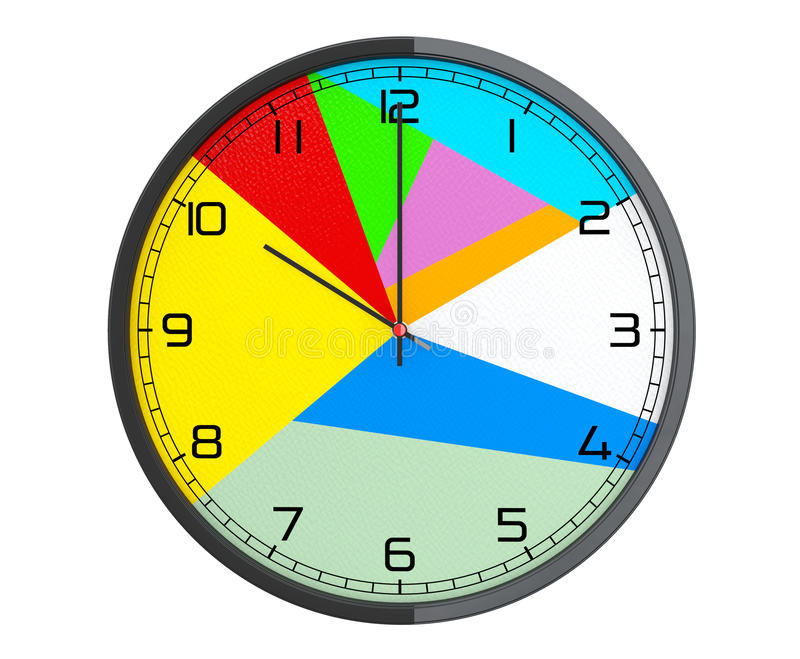 Round Multicolour Modern Office Clock. 3d Rendering royalty free illustration