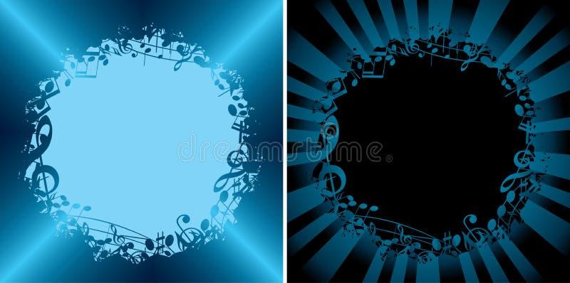 Round musical frames on dark and light backgrounds - vector decorations. Round musical frames on dark and light backgrounds -  vector decorations royalty free illustration