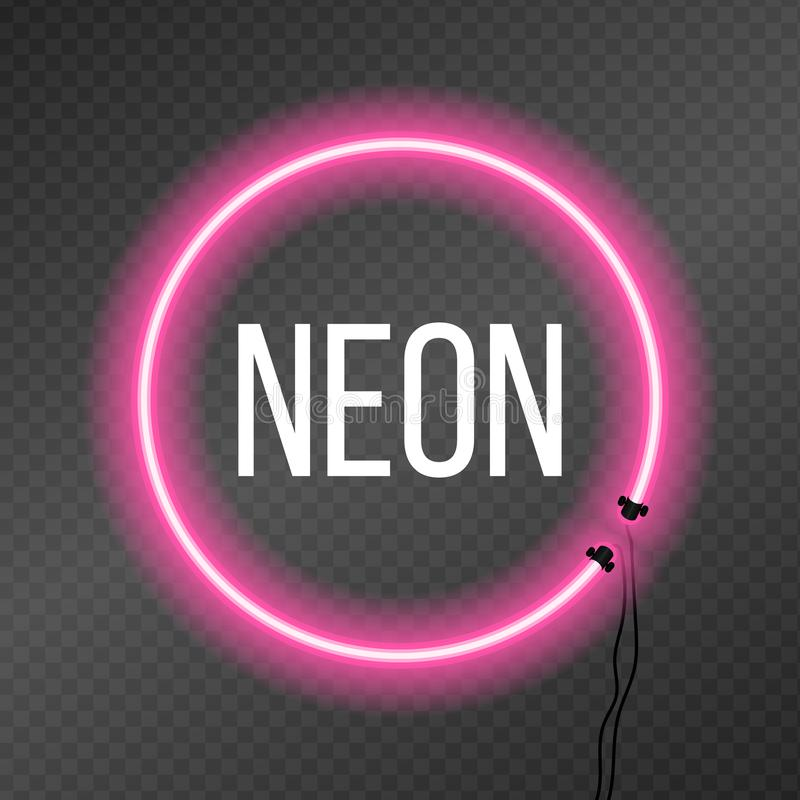 Round neon frame on transparency background. vector illustration