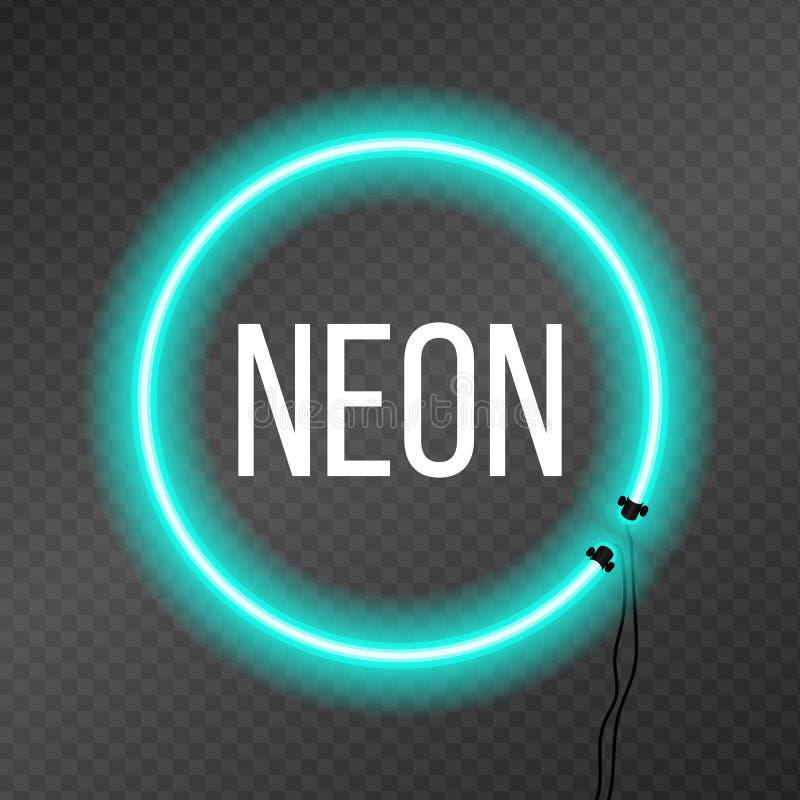 Round neonowa rama na przezroczystości tle ilustracji