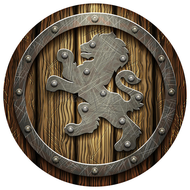Round oak shield with rivets and metal Lev. Round oak shield with rivets and a metal lion on a blank background royalty free illustration