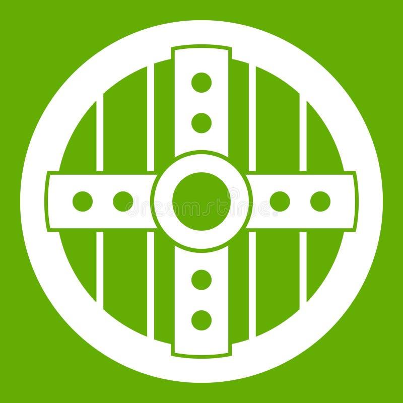 Round ochronna osłony ikony zieleń royalty ilustracja