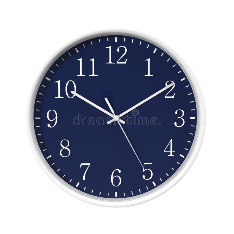 Round Office blue dial Clock on white. 3D illustration vector illustration