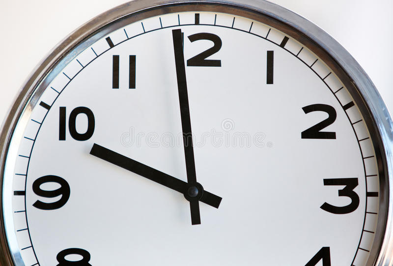 Round Office Clock Shows Ten Stock Image Countdown Timing