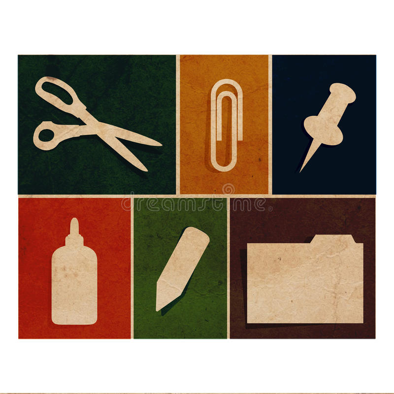 Flat office supply flat icons vintage collection. Flat office flat icons vintage collection - glue, paper clip, pin, folder, pen stock image