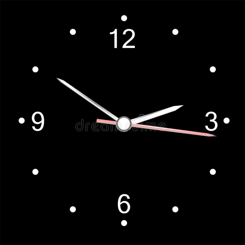 Download Round Office Wall Clock Isolated On Black. Vector Stock Vector - Illustration: 22222420