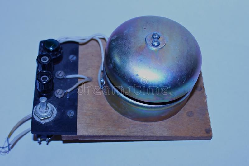 Old round electric bell. royalty free stock photography