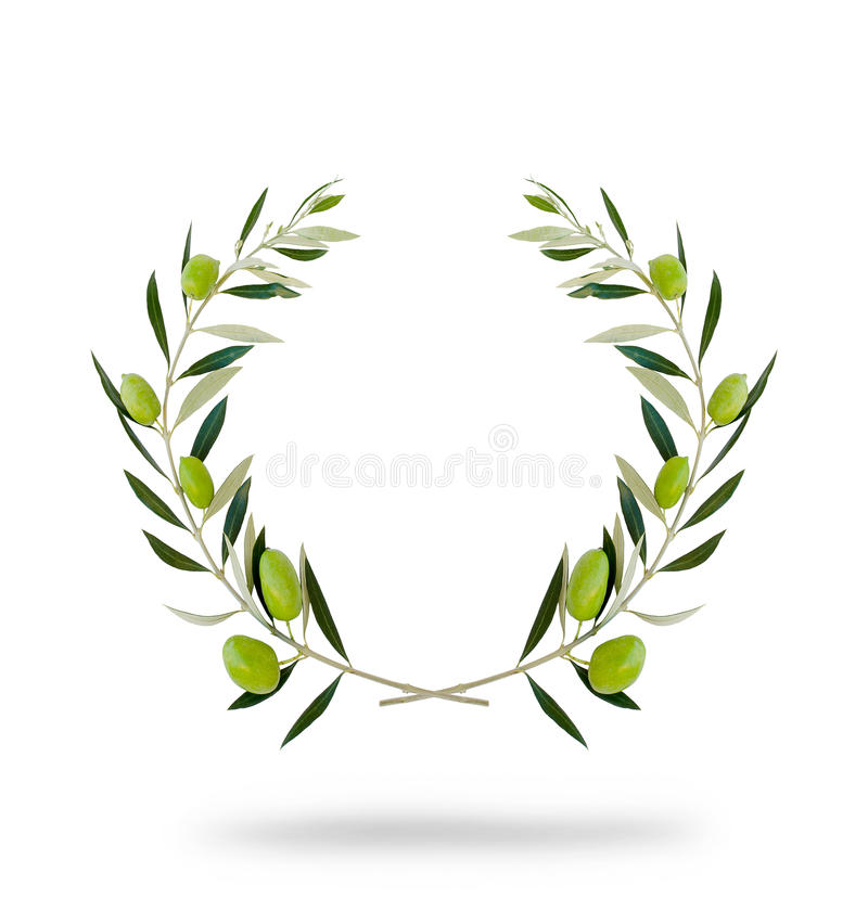 Round olive wreath with green fruits stock photo