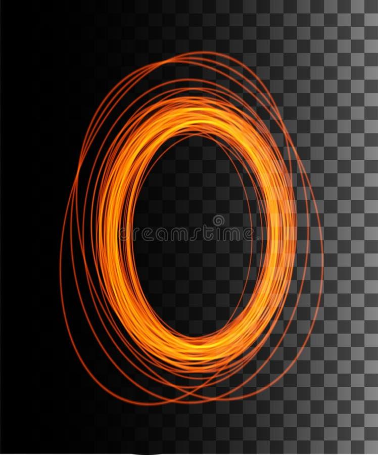 Round orange glow rays night scene with sparks on transparent background. Empty light effect podium. Magic fantasy portal. Futuristic teleport. Vector effect royalty free illustration