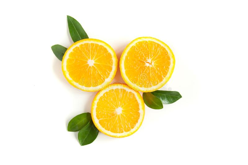 Round orange slices on a white background. Citrus tropical fruit background. Bright food. Dietary vitamin nutrition. stock photo