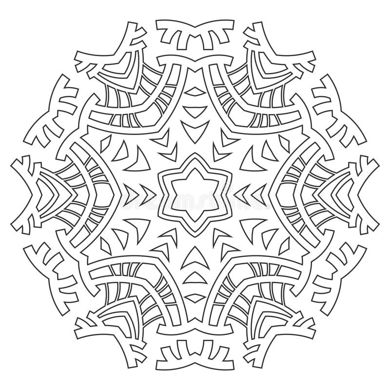 Round ornament for coloring books. Black, white pattern. Lace, snowflake royalty free illustration