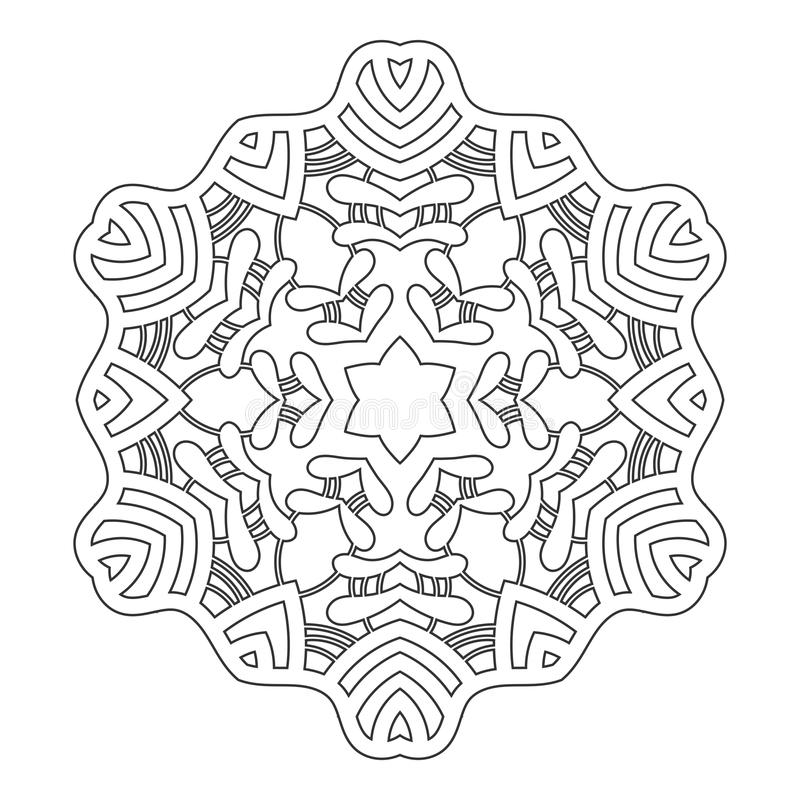 Round Ornament For Coloring Books. Black, White Pattern. Lace ...