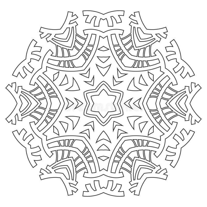 Round ornament dla kolorystyk książek Czerń, bielu wzór Koronka, płatek śniegu royalty ilustracja