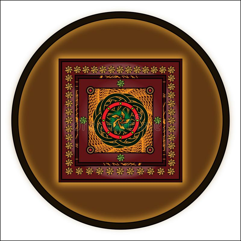 Round ornament with elaborate designs on a dark beige background. In the center of the yellow royalty free illustration