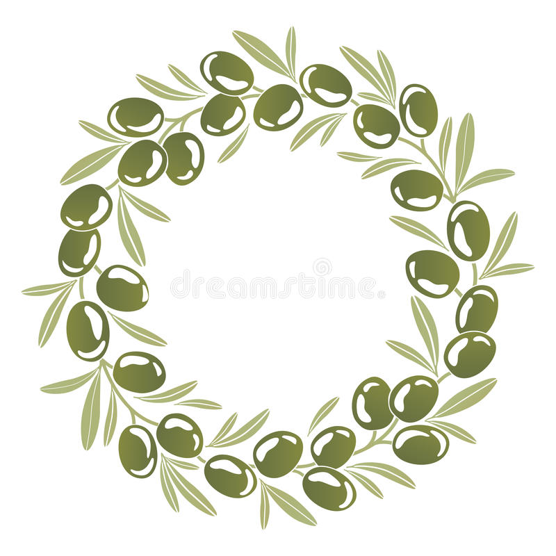 Round ornament Wreath of green olives. With foliage vector illustration