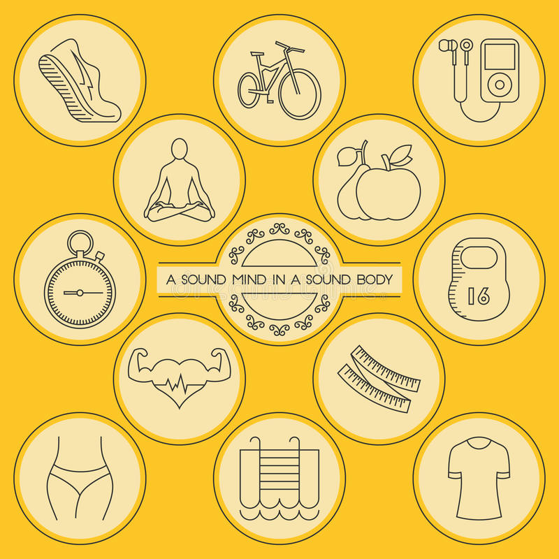 Round outlined health and fitness icons set. Health and fitness. Round outlined icons set for your design vector illustration