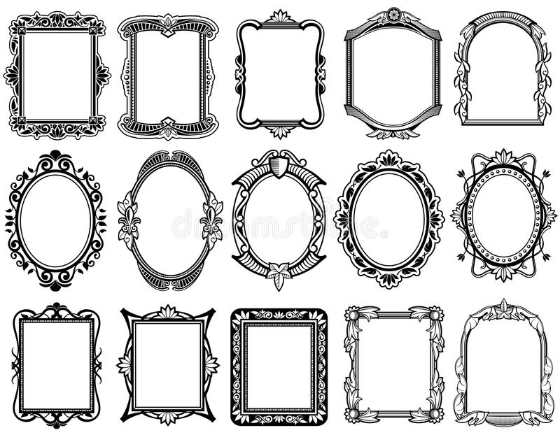 Round, oval, rectangular vintage victorian, baroque vector frames royalty free illustration