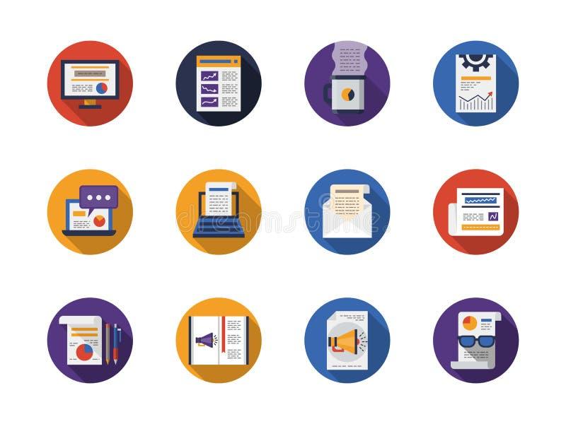Round płaskie kolor sieci artykułów ikony ustawiać ilustracji