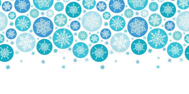 Round płatków śniegu Horyzontalny Bezszwowy wzór royalty ilustracja