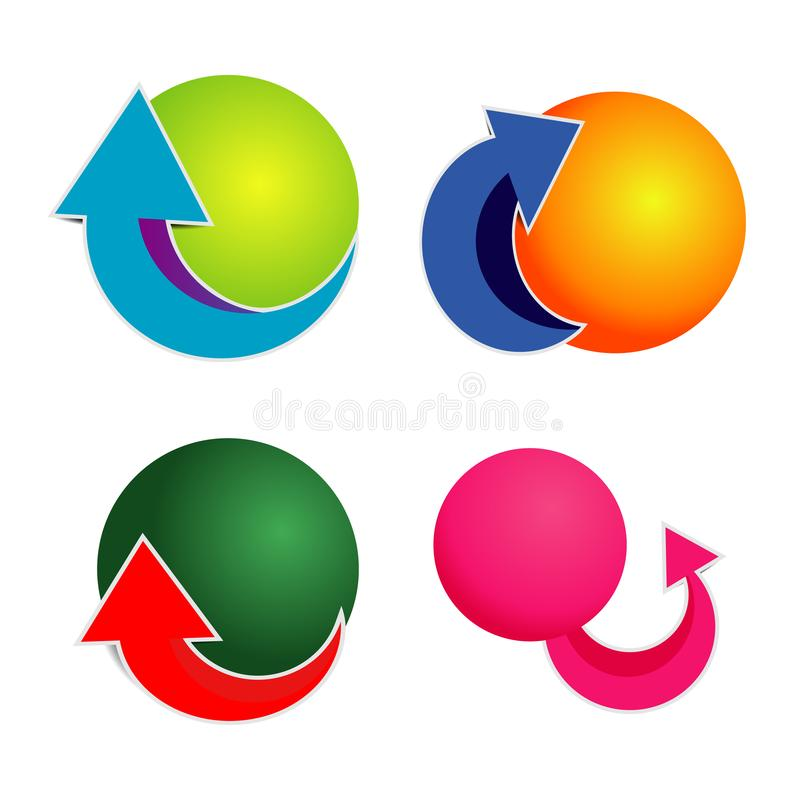 Round paper arrow icon with bright colored circles royalty free illustration