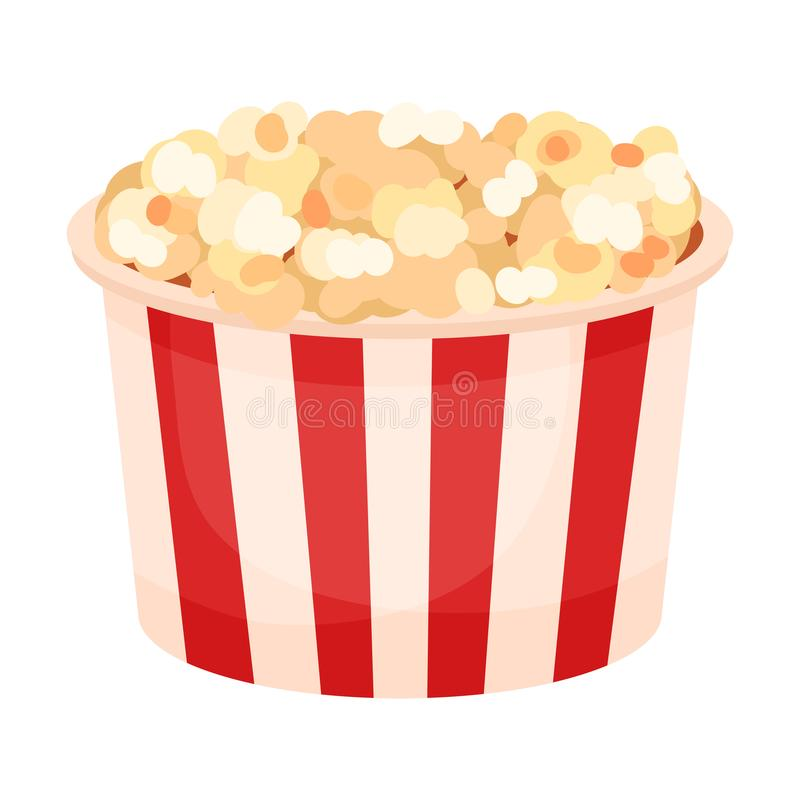 Round paper bucket with popcorn. Vector illustration on a white background. Round paper striped red white bucket with popcorn. Vector illustration on a white royalty free illustration