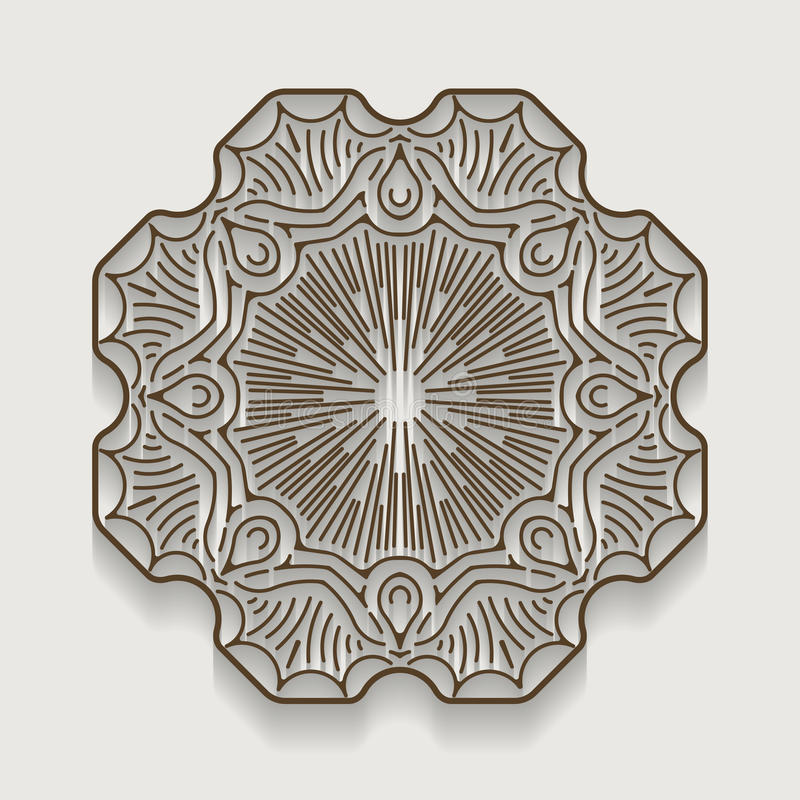 Round paper lace doily, greeting card. Decorative, geometric vector snowflake, mandala. Circle crochet ornament, eps 10. royalty free illustration